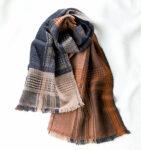 ウールかわり織りマフラー マロンブラウン