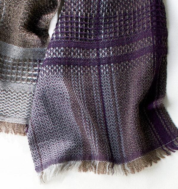 ウールかわり織りマフラー バーガンディー