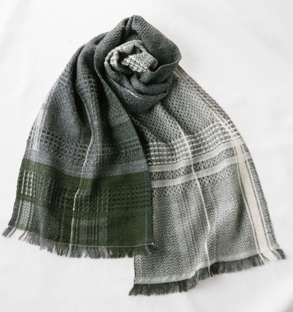 ウール かわり織りマフラー エクリュホワイト