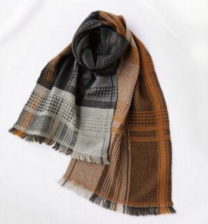 ウール かわり織りマフラー イエローブラウン