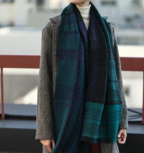 ウール かわり織りマフラー ブラックウォッチ