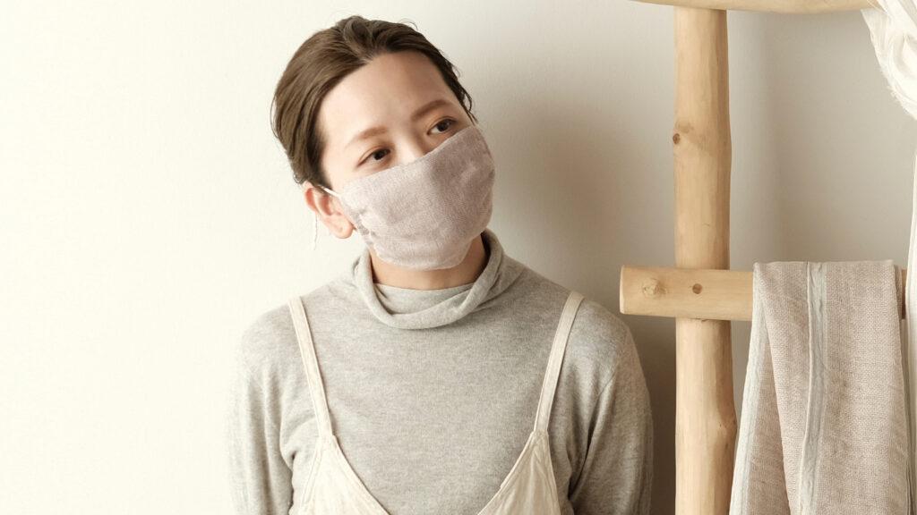 布マスク着用画像