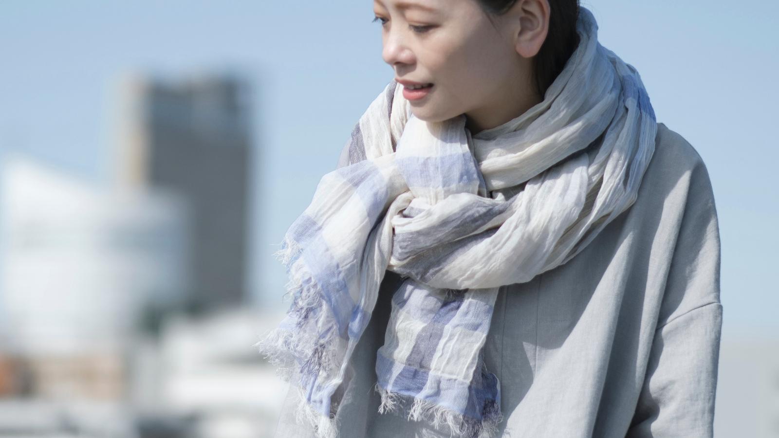 SHIBOリネンコットンチェックショール商品画像