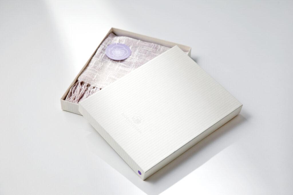 麻とボタニカルオーガニックの節糸格子マフラーパンジー商品画像