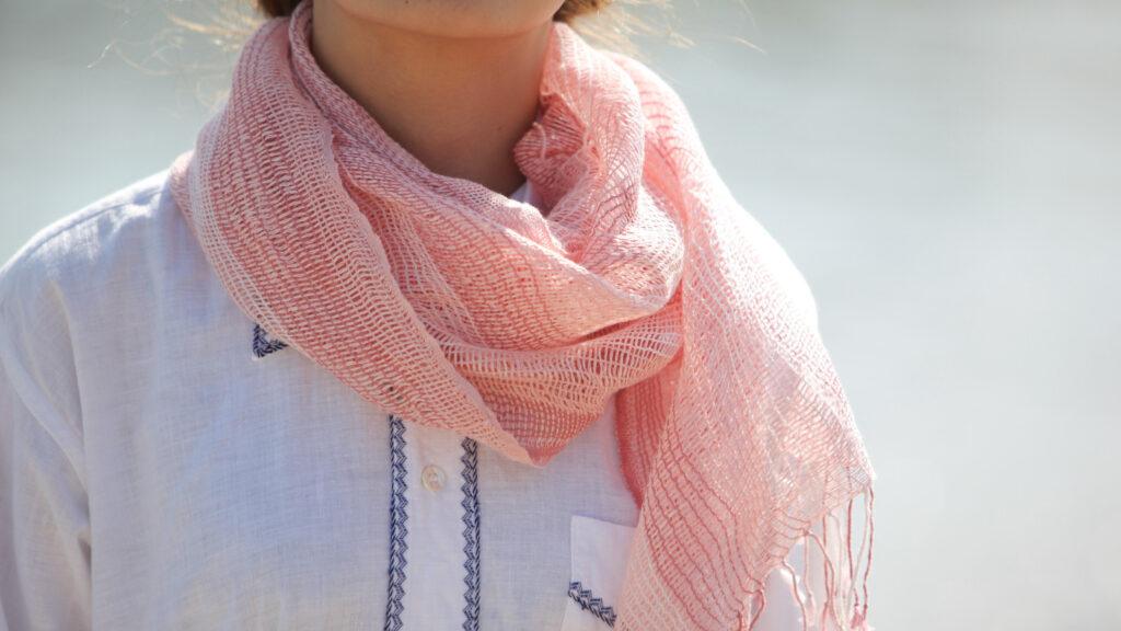 麻のゆらぎRIN ピンク着用画像