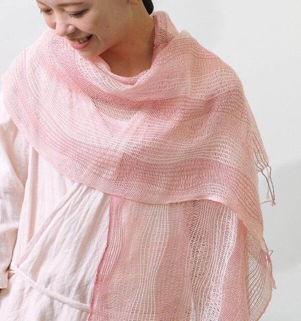 麻のゆらぎRIN ピンク 着用画像