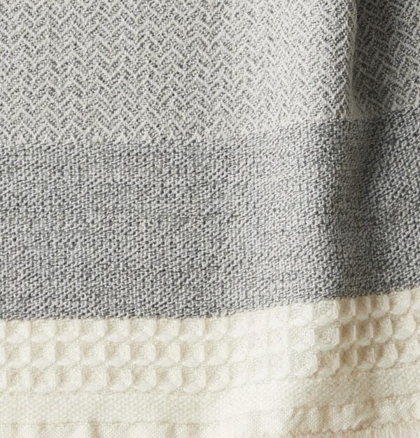 KAWARI ウール ノルディックボーダー ホワイト クローズアップ画像